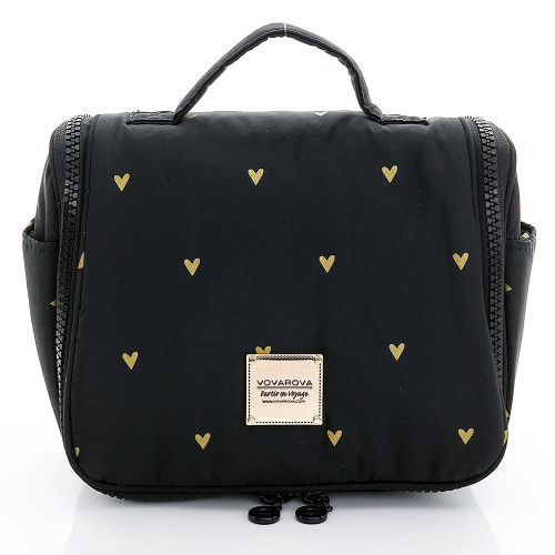 Travel Toiletry Bag - Mini Heart - Black
