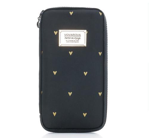 Travel Wallet - Mini Heart -Black