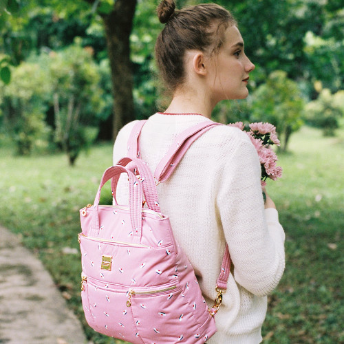 Convertible Satchel / Backpack - French Pom Pom -Apple Pink