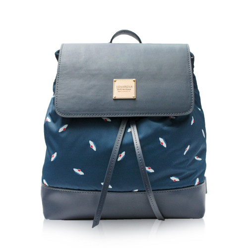 Flipped Backpack - French Pom Pom - Navy