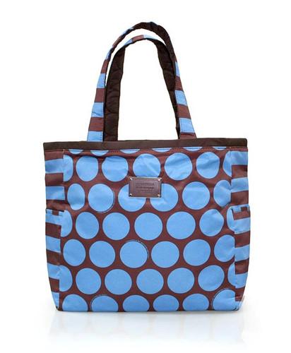 Reversible Tote - Polka Dot - Chocolate/Blue