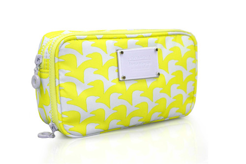 Compact Brush Case - Checker in Vogue - Yellow