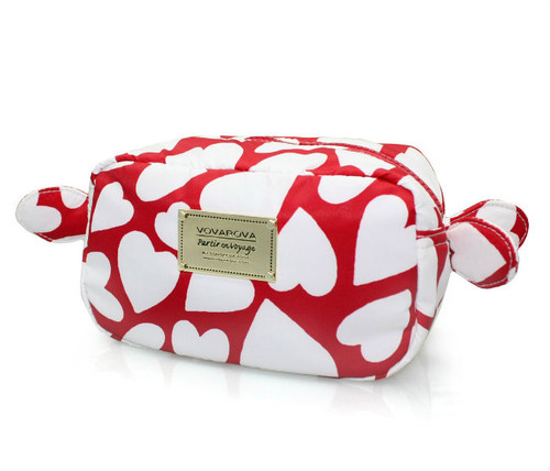 Travel Cosmetics Pouch With Ribbon - Endless Love - Red