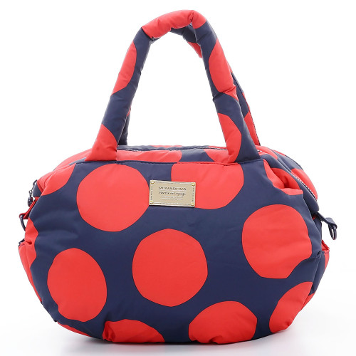 3-way Shoulder Tote - POP DOT Navy Red