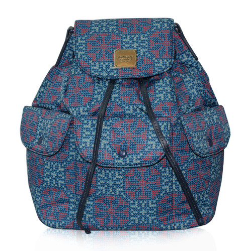 2 Way Drawstring Hobo Bag - Nordic tale  Blue