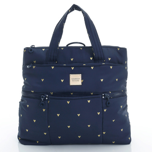 Convertible Satchel / Backpack - Mini Heart - Blue