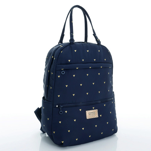 Double Handle Backpack - Mini Heart - Blue