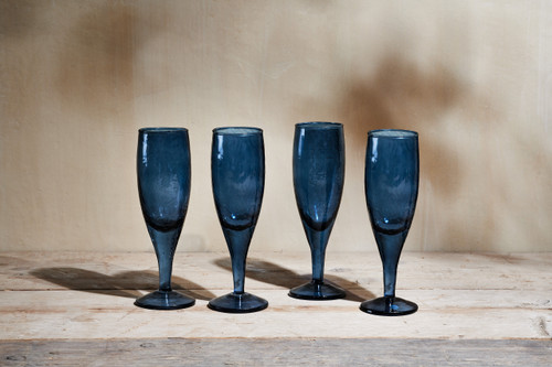 Yala Hammered Champagne Glass - Indigo - Set of 4