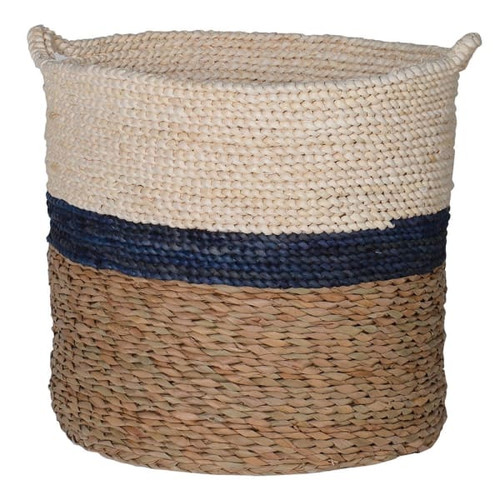 Navy Stripe Maize and Straw Basket