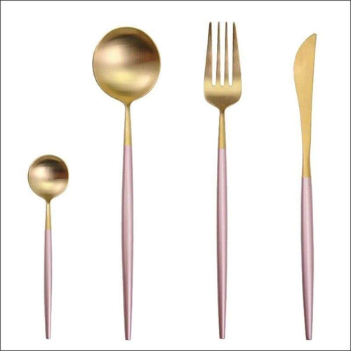 Pink & Gold Four Piece Cutlery Set