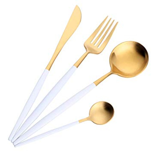 White & Gold Four Piece Cutlery Set