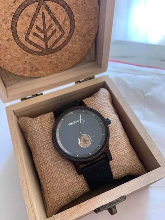 Moonflower Wood Watch with Real Soft Leather Black Strap
