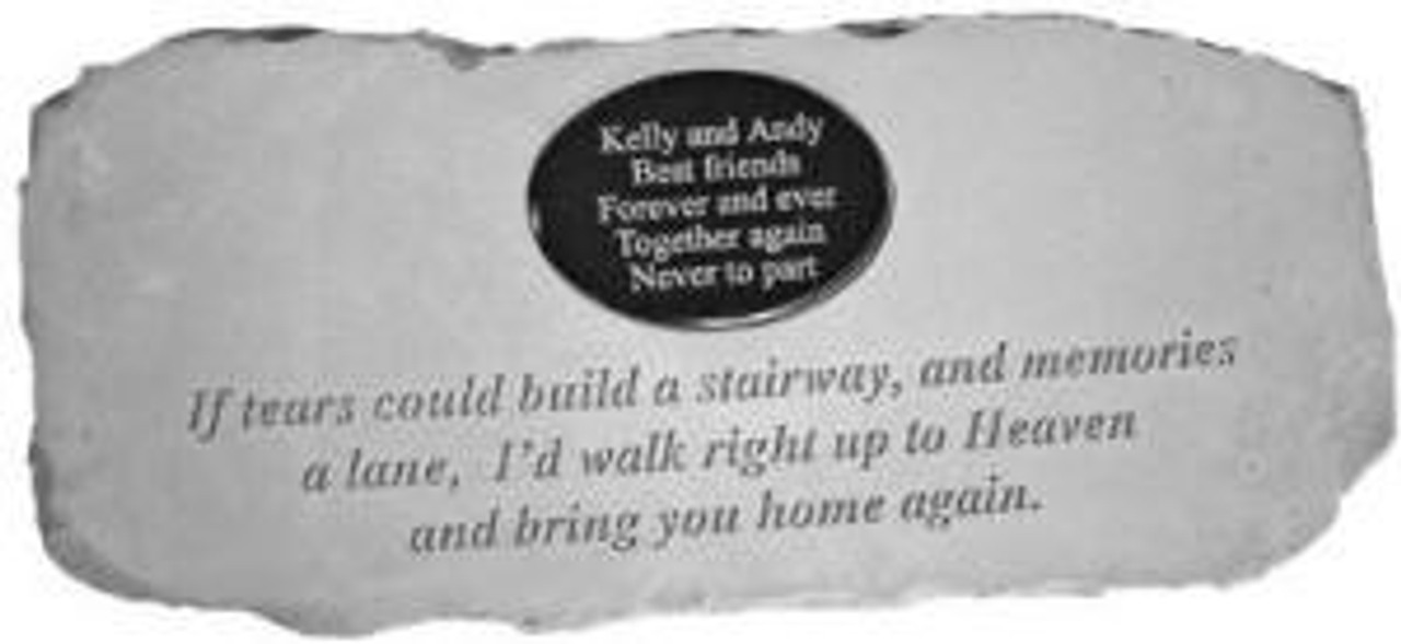 """""""If tears could build a stairway..""""  Cast Stone Bench w/ Plaque"""
