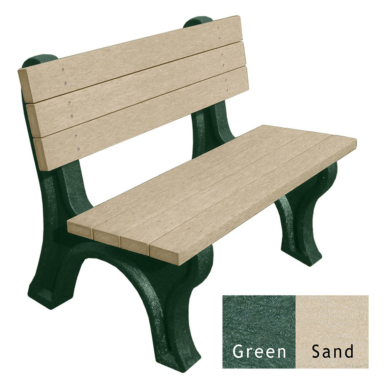 Deluxe Bench 4 Ft. Engraved Recycled Plastic Bench w/Arms