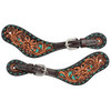 Circle Y Turquoise Inlaid Western Floral Spur Straps