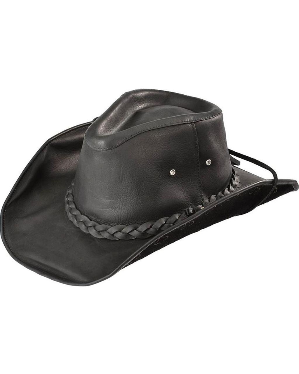 aef5242d2704d Bullhide Melbourne Aussie Outback Cowboy Black Leather Hat 0453BL ...