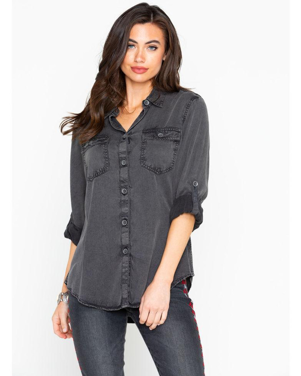 47e9067605 Ariat Women's Faded Black Tabbed Sleeves Button Down Utility Western ...