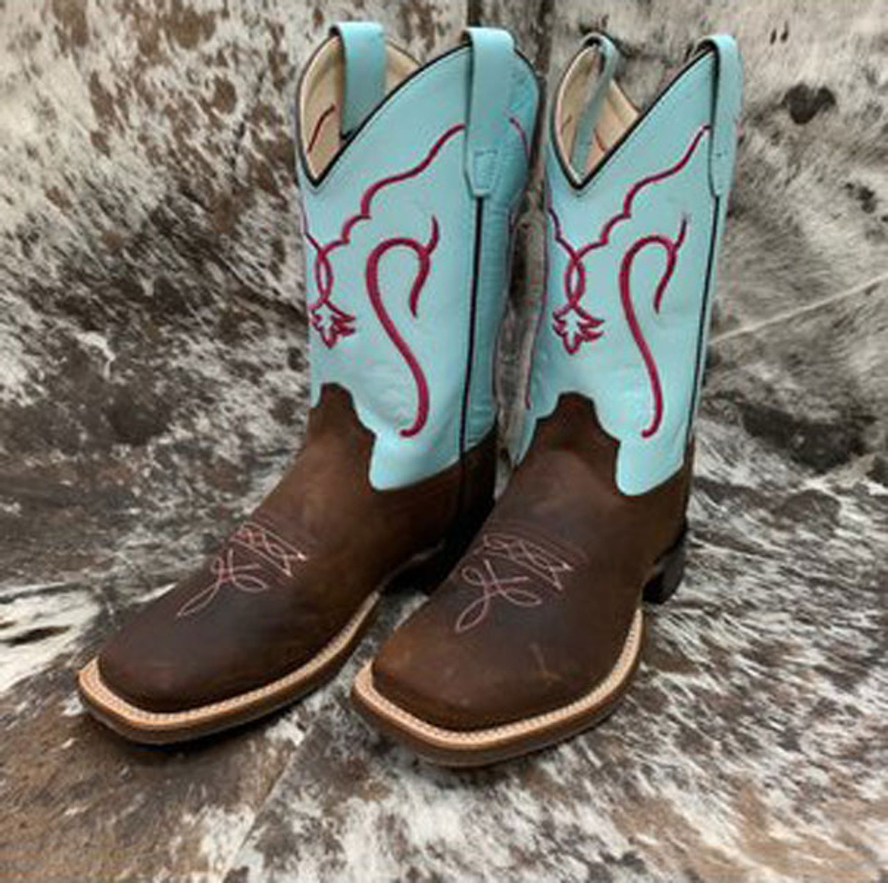Old West Toddler Boy Girl Brown Tan Leather Western Cowboy Boots 4 5 6 7 8