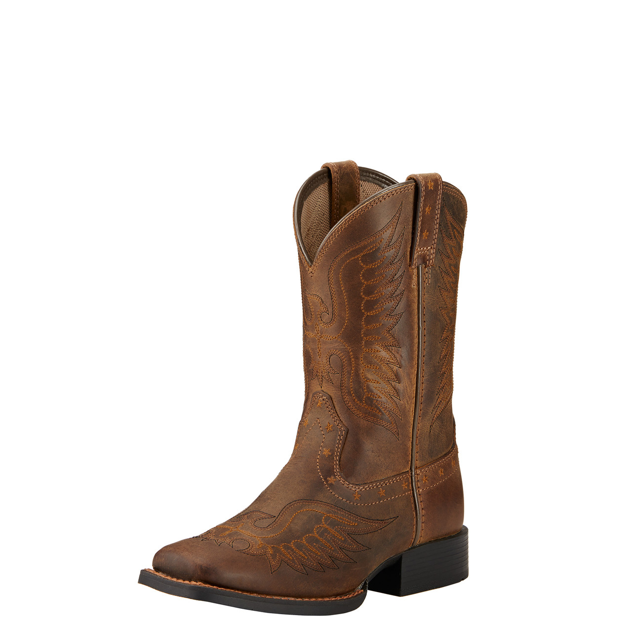 f6d64225497 Ariat Youth Kids Honor Distressed Brown Wide Square Toe Cowboy Boot ...