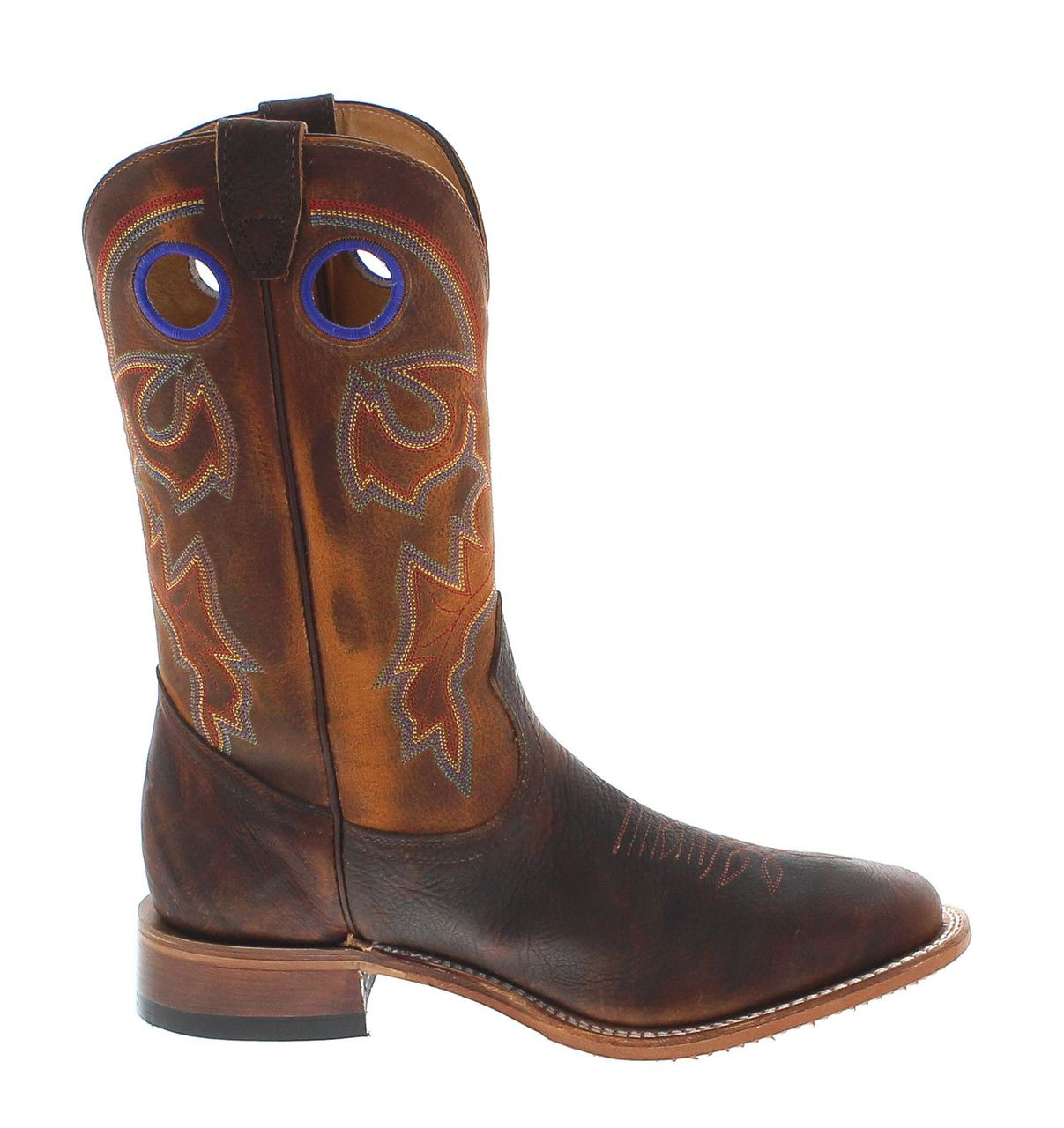 783a5374 Boulet Mens Bison Brown Shrunken Old Town Wide Square Toe Cowboy Boots 6369