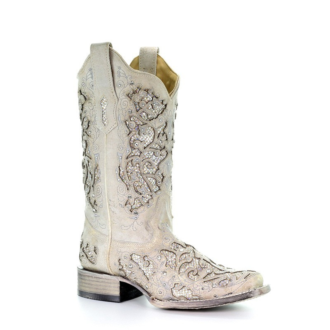ce1a73755001 Corral Womens White Square Toe Crystal Inlay Glitter Cowgirl Boot A3397