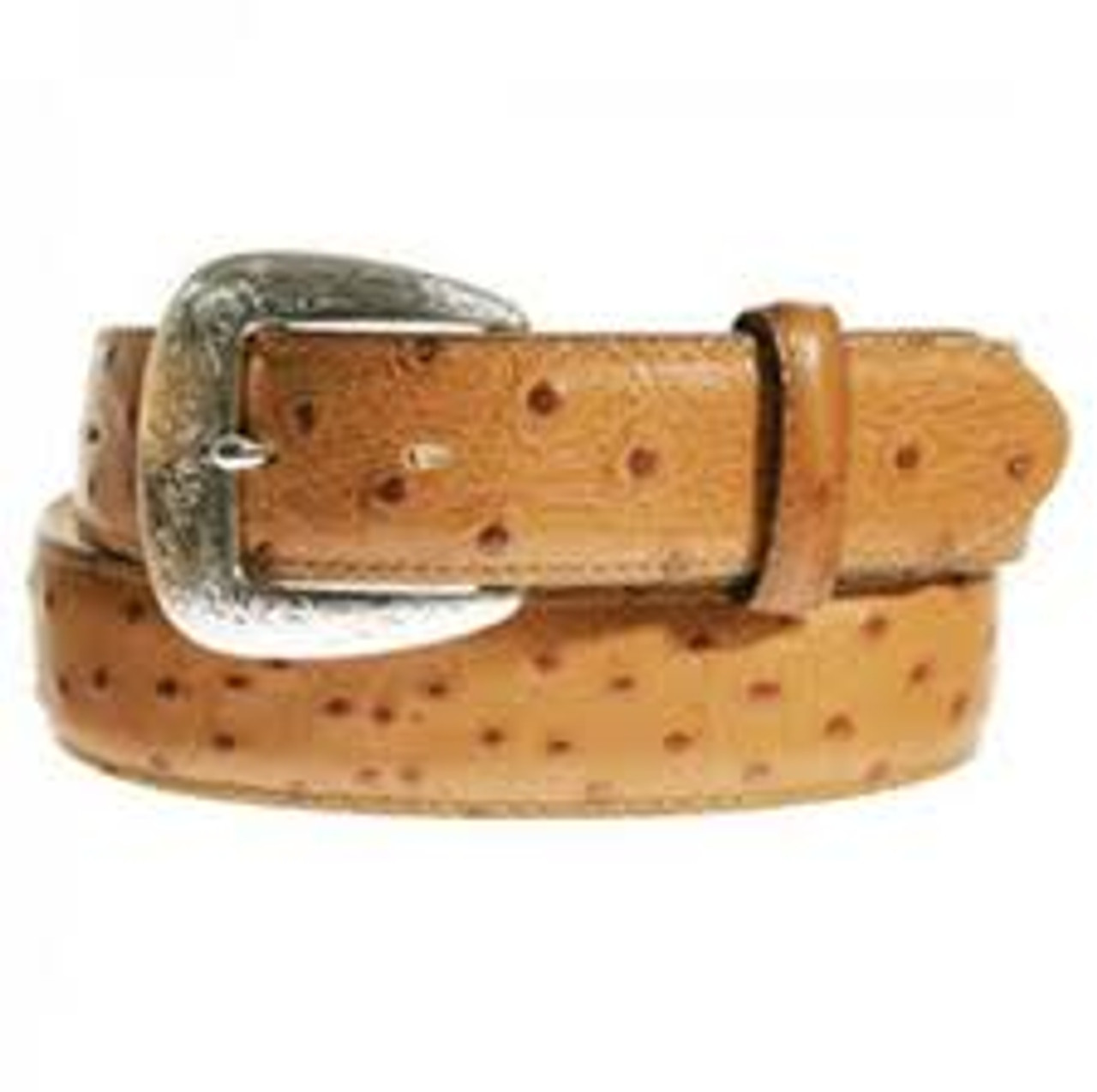 Ariat Men/'s Western Ostrich Print Tooled Leather Belt Brown