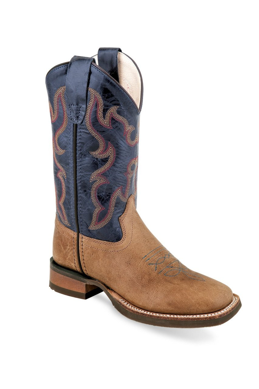 2c588d04d8a Old West Childs Blue Tan Fry Square Toe Cowboy Boot BSC1846