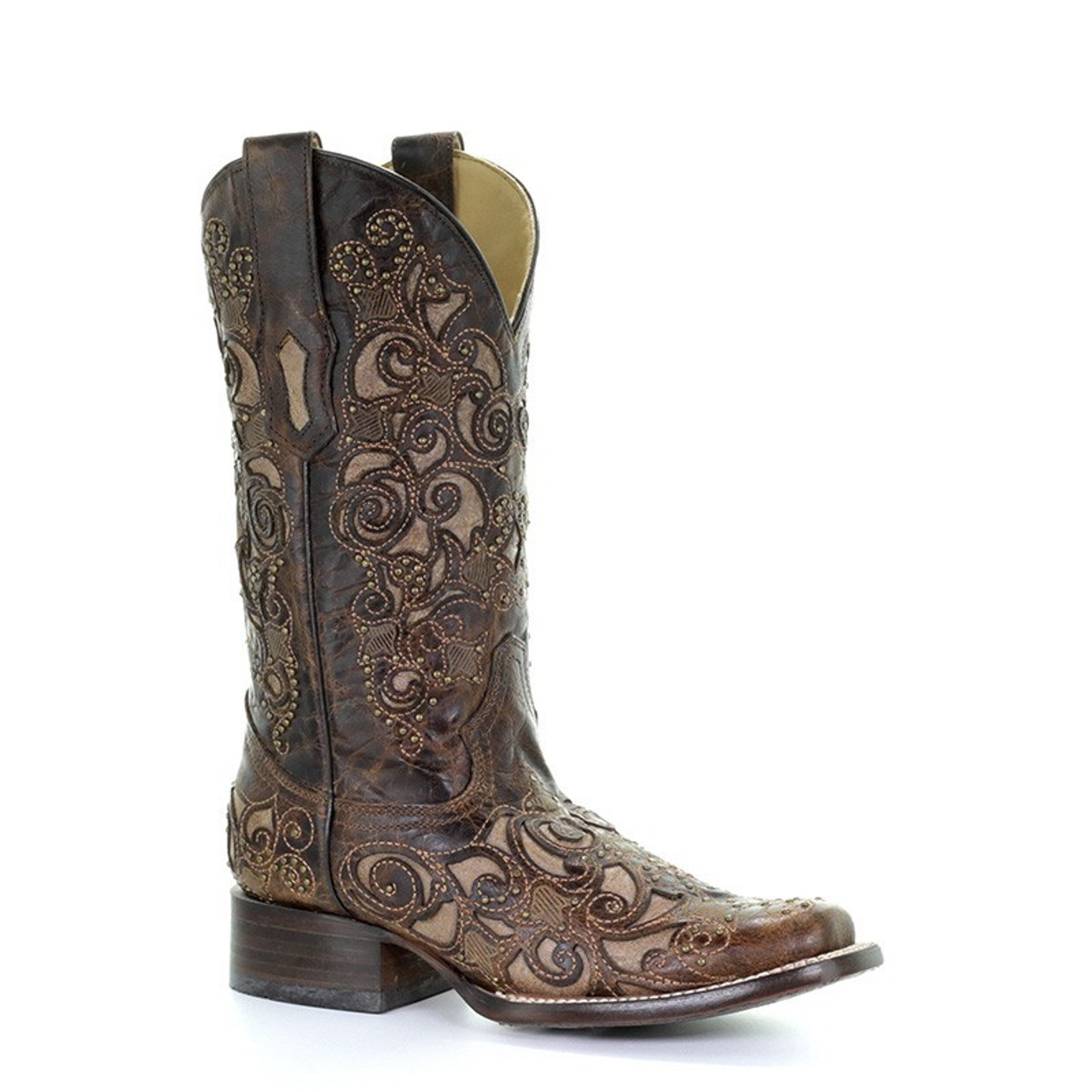 359fa22c343 Corral Womens Brown Studded Inlay Square Toe Cowgirl Boots A3326 ...