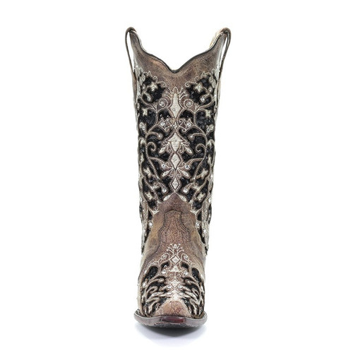 Corral Women S Embroidered Glitter Stud Inlay Snip Toe Cowgirl