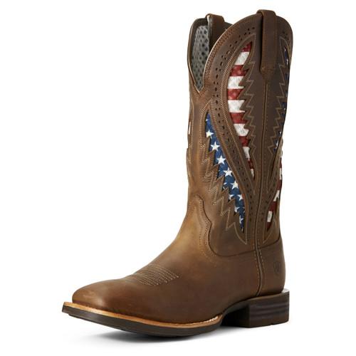 Ariat Men's Quickdraw American Flag Ventek Brown Cowboy Boots