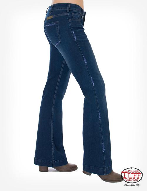 cowgirl tuff indigo shimmer trouser