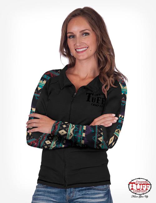 Cowgirl Tuff Women's Black Aztec Arena Track Jacket H00590