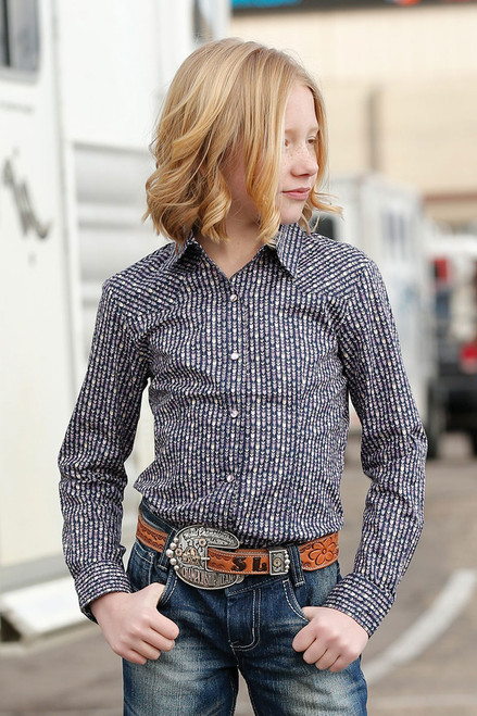 Cruel Girl Navy Arrow Print Snap Girl's Western Shirt Top
