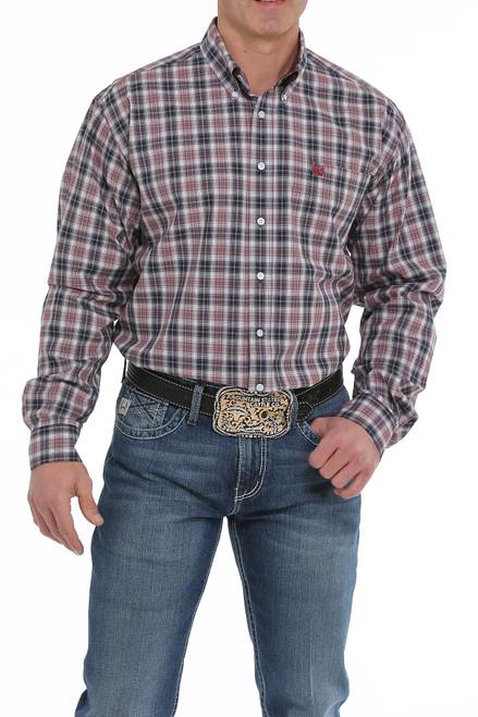 Cinch Men's Red White & Blue Plaid Button Down Western Shirt