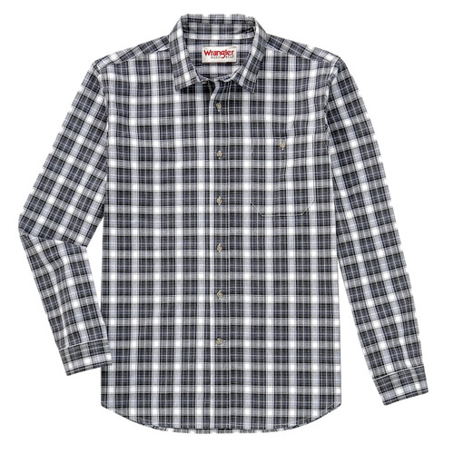 Wrangler Men's Performance Graphite Plaid Western Shirt