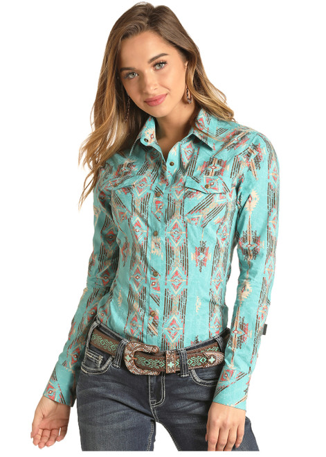 Rock & Roll Cowgirl Juniors Turquoise Aztec Print Western Shirt