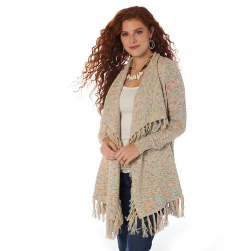Wrangler Women's Marbled Fringed Sweater LWK792M