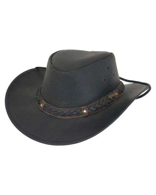 Outback Trading CO Wagga Wagga Black Leather Aussie Hat