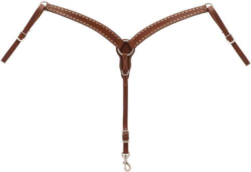 Weaver Turquoise Cross Rawhide Buckstitch Contoured Pony Breast Collar