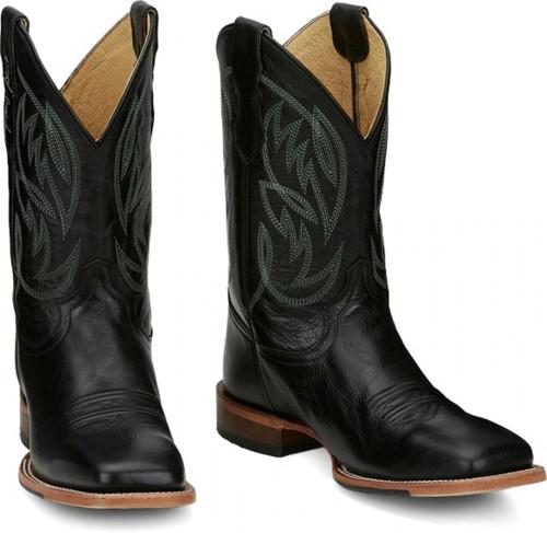Justin Men's George Strait Check Yes Black Western Cowboy boots