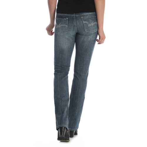 Wrangler 9MWTMS Women's Mae Mid Rise Straight Leg Western Jeans