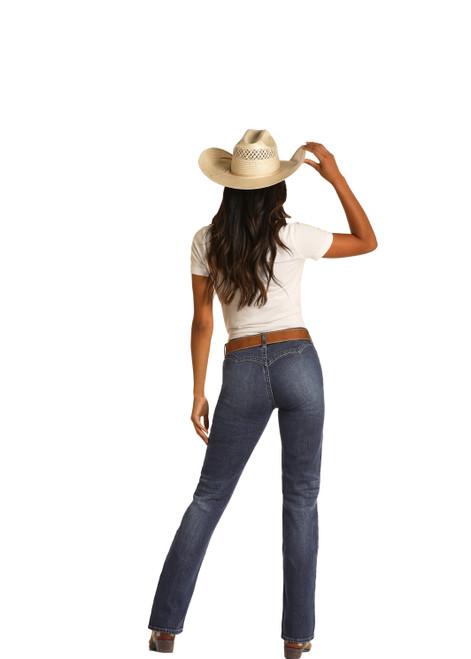 Rock & Roll Cowgirl W1-9776 Women's Mid Rise Bareback Western Jeans