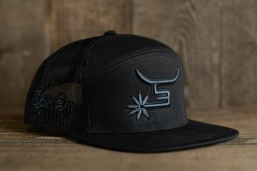 Spin Em Rodeo Black Chrome Trucker Hat Western Lifestyle Cap
