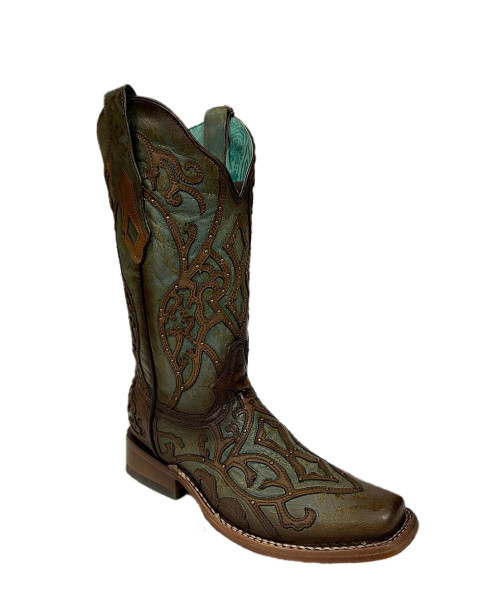 Corral Women's Turquoise Brown Overlay Handcrafted Leather Western Boots