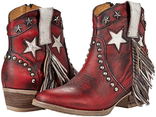 Corral Q0182 Women's Antique Red Star, Fringe, & Stud Ankle Western Boots