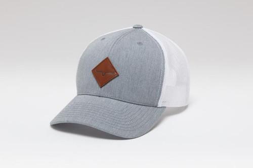 Kimes Ranch Diamond Logo Trucker Hat Grey & White Cap