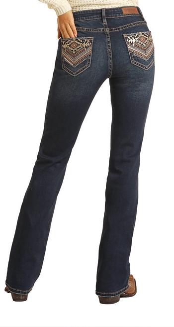 Rock & Roll Cowgirl Women's Extra Stretch Mid Rise Boot Cut Jean