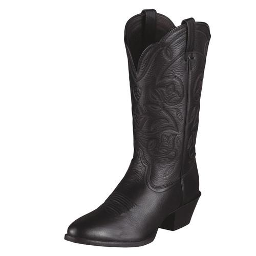 Ariat Women's Heritage Western R Toe Black Deertan Cowgirl Boots 1001037