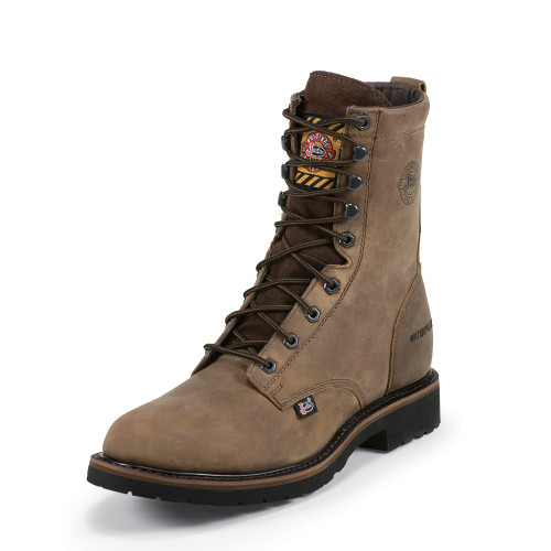 """JUSTIN MEN'S WORK BOOTS WYOMING 8""""WATERPROOF LACE UP COWBOY BOOTS  WK960"""