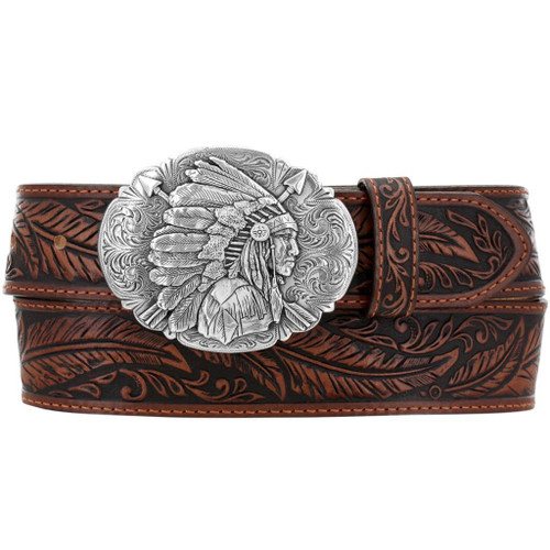 Tony Lama Mens Western Belt Leather Made in USA Tooled Ol Chief Buckle C13704